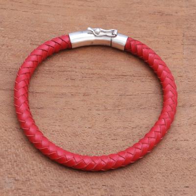 Men's sterling silver and leather bracelet, 'Brick Road' - Men's Braided Leather Bracelet