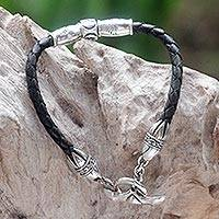 Leather braided bracelet, 'The Spirit of Peace in Black' - Handmade Sterling Silver and Braided Leather Bracelet