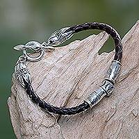 Leather braided bracelet, 'The Spirit of Peace in Brown' - Handcrafted Leather and Sterling Bracelet from Indonesia