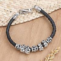 Leather braided flower bracelet, 'Exotic Flora in Black' - Leather braided flower bracelet