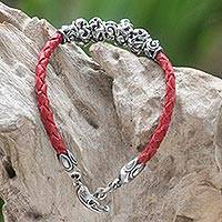 Leather braided flower bracelet, 'Exotic Flora in Red' - Sterling Silver and Braided Leather Bracelet