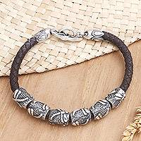 Leather braided bracelet, 'Lucky Dragonfly in Brown' - Sterling Silver and Braided Leather Bracelet