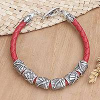 Leather braided bracelet, 'Lucky Dragonfly in Red' - Indonesian Sterling Silver and Leather Bracelet