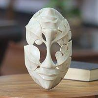 Wood mask, 'Life's Ups and Downs' - Unique Wood Mask from Indonesia