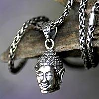 Men's sterling silver necklace, 'Smiling Buddha' - Men's Sterling Silver Pendant Necklace