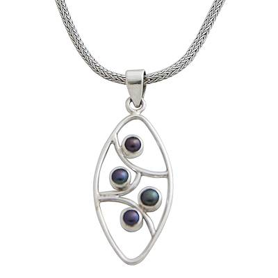 Cultured pearl pendant necklace, 'Iridescent Hope' - Cultured pearl pendant necklace