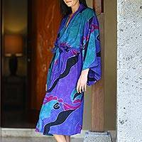 Women's batik robe, 'Turquoise Ocean' (short) - Women's batik robe