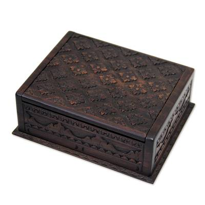 Wood decorative box, 'Kawung Skies' (small) - Wood decorative box (Small)