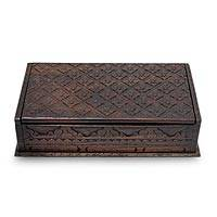 Wood decorative box, 'Kawung Skies' (medium) - Unique Carved Decorative Box