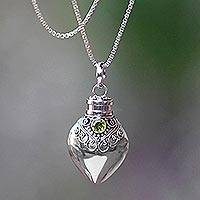 Peridot locket necklace, 'Precious Bali'