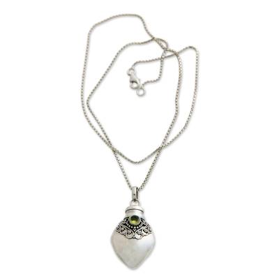 Peridot locket necklace, 'Precious Bali' - Sterling Silver and Peridot  Locket Necklace