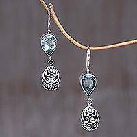 Blue topaz dangle earrings, 'Lotus Bud'