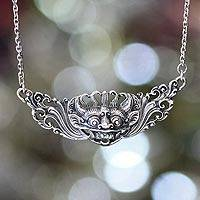 Sterling silver pendant necklace, 'Barong Hero'