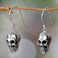 Sterling silver dangle earrings, 'Immortal Skull'