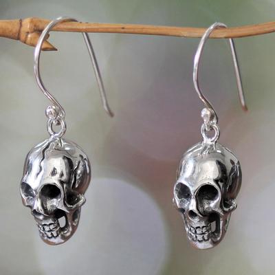 Sterling silver dangle earrings, 'Immortal Skull' - Women's Sterling Silver Dangle Earrings