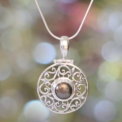 Pearl pendant necklace, 'Deepest Beauty' - Fair Trade Sterling Silver and Pearl Pendant Necklace