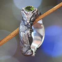 Men's peridot ring, 'Dreams of a Cat' - Unusual Cat Themed Peridot Sterling Silver Ring