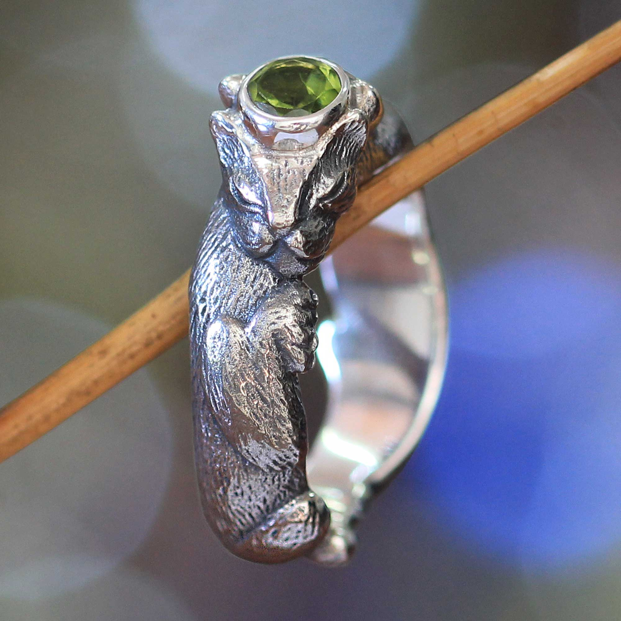 Mens Unique Sterling Silver and Peridot Ring Dreams of a Cat NOVICA