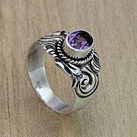 Amethyst ring, 'Majestic Crest' - Men's Sterling Silver and Amethyst Ring