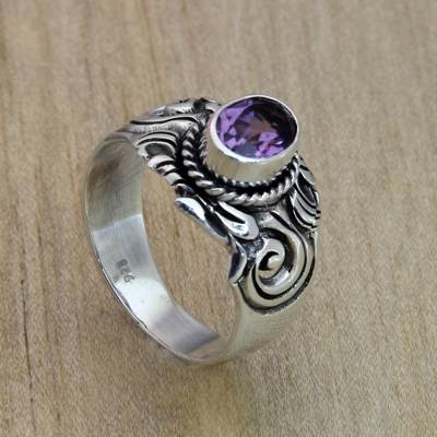 Amethyst ring, 'Majestic Crest' - Sterling Silver and Amethyst Ring