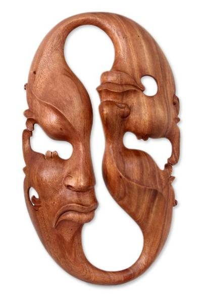 Wood mask, 'Emotional Duality' - Wood mask