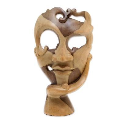 Wood mask, 'Awaiting Him' - Hibiscus Wood Mask Hand Carved in Indonesia