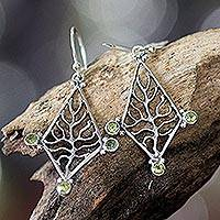 Peridot dangle earrings, 'Glowing Branch' - Peridot dangle earrings