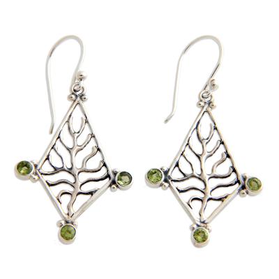 Peridot dangle earrings, 'Glowing Branch' - Peridot dangle earrings