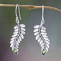 Peridot dangle earrings, 'Sweet Leaf' - Peridot dangle earrings