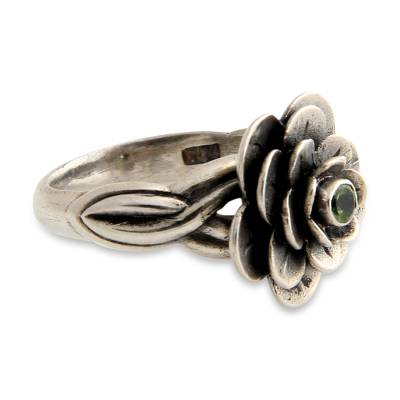 Peridot flower ring, 'Holy Lotus' - Floral Sterling Silver and Peridot Ring