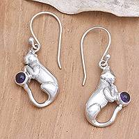 Amethyst dangle earrings, 'Dreams of a Cat' - Unusual Sterling Silver and Amethyst Cat-Themed Earrings