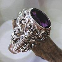 Men's amethyst ring, 'Balinese Butterfly' - Men's Handcrafted Sterling Silver and Amethyst Ring