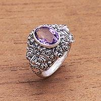 Men's amethyst ring, 'Beloved Barong' - Men's Sculptured Sterling and Amethyst Ring
