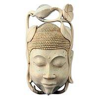 Wood mask, 'Balinese Buddha' - Indonesian Buddhism Wood Mask