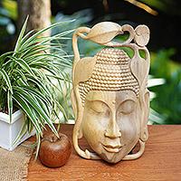 Wood mask, 'Balinese Buddha' - Indonesian Buddhism Wood Mask