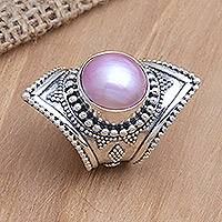 Pearl cocktail ring, 'Glowing Rose' - Hand Made Silver Ring With A Rose Pearl