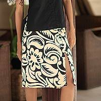 Cotton batik wraparound skirt, 'Balinese Shadow' - Black and Pale Yellow Floral Batik Cotton Wrap Skirt