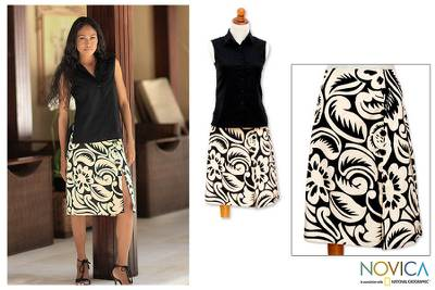 Cotton batik skirt, 'Balinese Shadow' - Batik Cotton Wrap Skirt