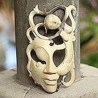Wood mask, 'Freedom' - Handcrafted Modern Wood Mask from Indonesia