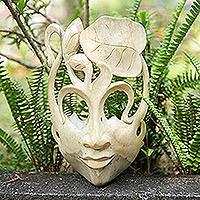 Wood mask, 'Lady of the Lotus' - Hibiscus Wood Mask
