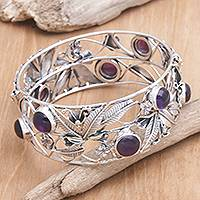 Amethyst flower bracelet, 'Lilac Frangipani' - Artisan Crafted Floral Sterling Silver and Amethyst Bangle