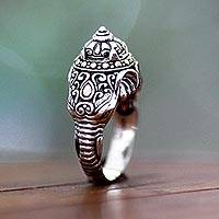 Men's sterling silver ring, 'Elephant Warrior'