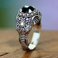 Men's onyx ring, 'Elephant Warrior' - Men's Handcrafted Sterling Silver and Onyx Ring