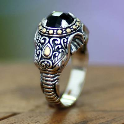 Mens Handcrafted Sterling Silver and Onyx Ring Elephant Warrior