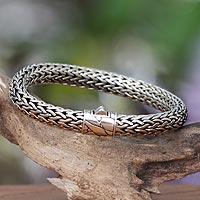 Men's sterling silver bracelet, 'Dragon Power' - Men's Artisan Crafted Sterling Silver Chain Bracelet