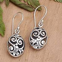 Sterling silver dangle earrings, 'Petite Karangasem Castle' - Hand Crafted Sterling Silver Dangle Earrings
