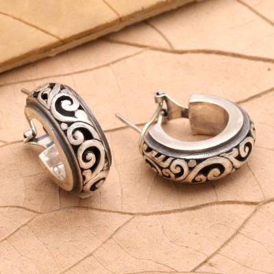 Sterling silver half-hoop earrings, 'Karangasem Castle' - Petite Sterling Silver Half Hoop Earrings from Bali