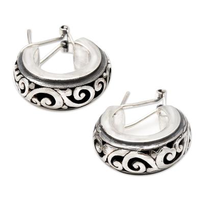 Petite Sterling Silver Half Hoop Earrings from Bali