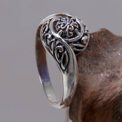 Sterling silver flower ring, 'Rainforest Bloom' - Unique Sterling Silver Band Ring