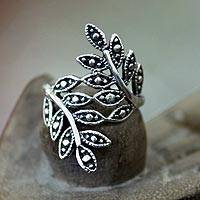 Sterling silver ring, 'Balinese Fronds'